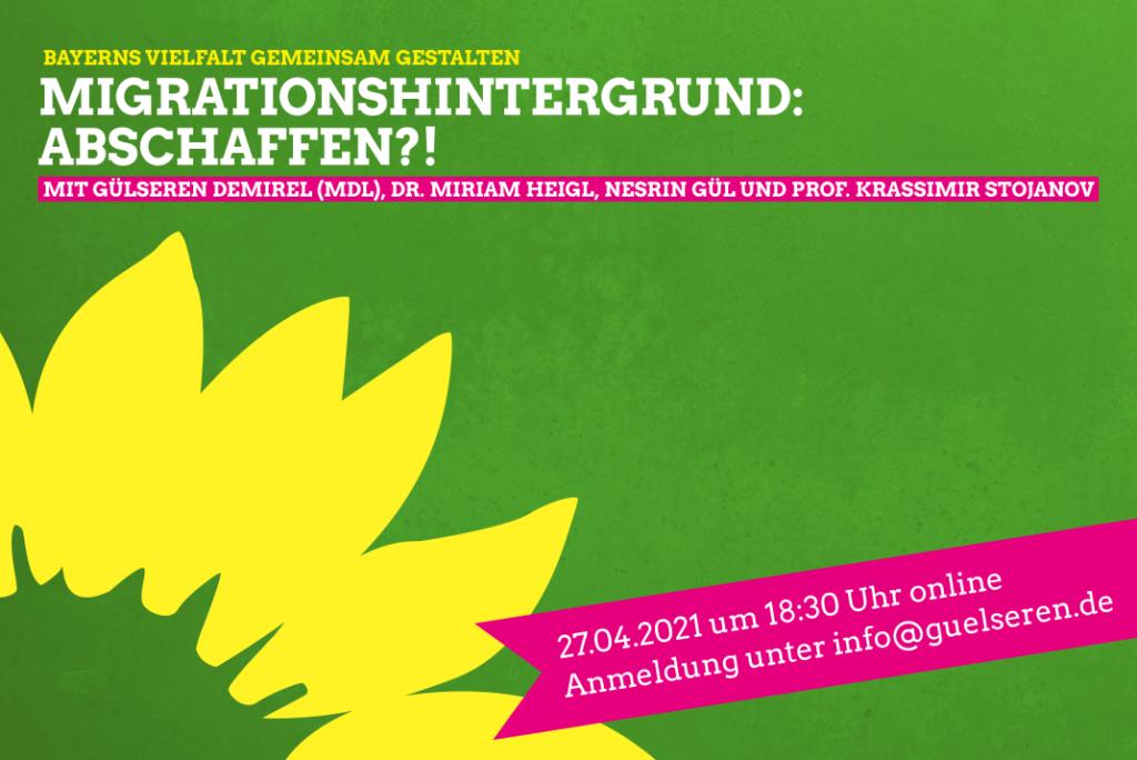 Einladung zur Online Diskussion: Migrationshintergrund: Abschaffen!? Bayerns Vielfalt gemeinsam gestalten
